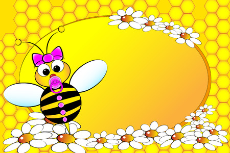 daughter cells: Bee Family: girl with flowers. Kids illustration