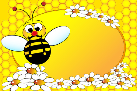 Bee Family:  Dad with flowers. Kids illustration Vector