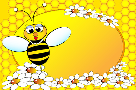 Bee Family:  Mom with flowers. Kids illustration Vectores