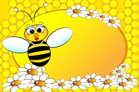 margriet: Bee Familie: moeder met bloemen. Kids illustratie