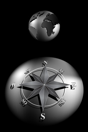 World globe with compass rose, black and silver tones Vector