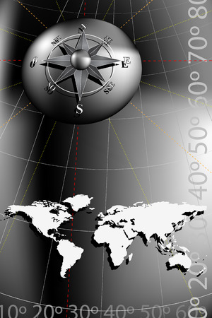 World map with compass rose, black and silver tones Illustration