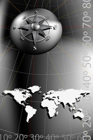 Weltkarte mit Kompass-Rose, Schwarz und Silber-Töne Standard-Bild - 5168890
