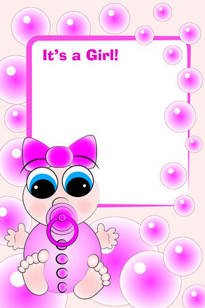 New birth card for a little baby girl Stock Vector - 5212976