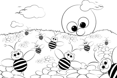Coloring page for kids - Good morning with flowers, bees and sun Vector