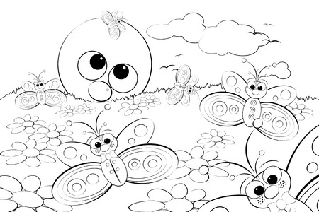 Coloring Page for kids - Good morning with flowers, butterflies and sun Vector