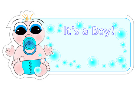 New birth label for a little baby Boy Stock Vector - 5212981