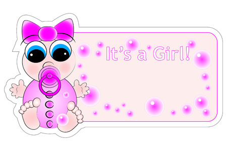 New birth label for a little baby girl Stock Vector - 5212980
