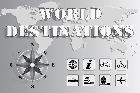 World map with compass rose and travel icons - World Destinations Vector
