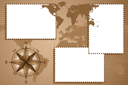 Scrapbook - Map world with compass rose, vintage style Vector
