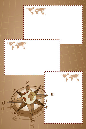 Scrapbook with map world, globe and compass rose, vintage style Vector
