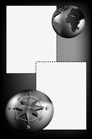 voyager: Scrapbook with map world, globe and compass rose, silver tones Illustration