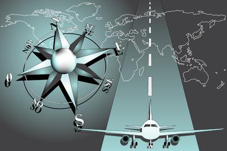 Weltkarte mit Windrose und Flugzeug Standard-Bild - 5316513