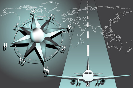 World map with compass rose and airplane