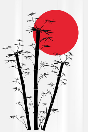 japanese garden: Bamboo silhouette with red sun - Japanese style