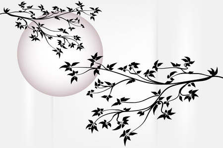 japanese garden: Silhouette tree with purple moon - Japanese style