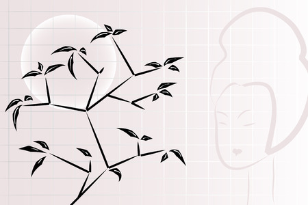 Ikebana composition with windows, moon and geisha Stock Vector - 5346783