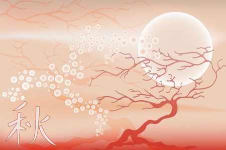 Tree with moon and ideogram of autumn - Japanese Style