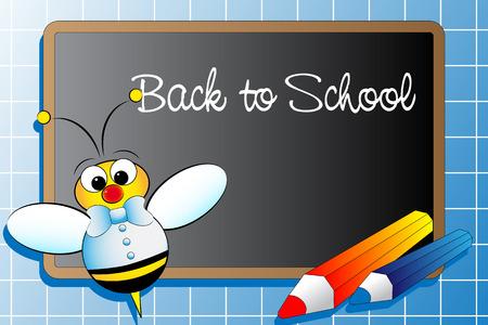 abeja caricatura: Volver a la escuela con una abeja y l�pices - Ilustraci�n Infantil