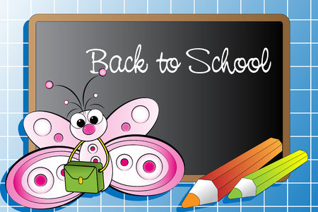 Back to school with a butterfly and pencils