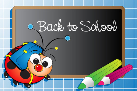 Back to school with ladybug and pencils Illustration