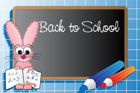 Back to school with a pink rabbit and pencils Vector