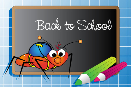 Back to school with an ant and pencils Vector
