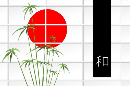 Ikebana composition with japanese red sun and ideogram Ilustração