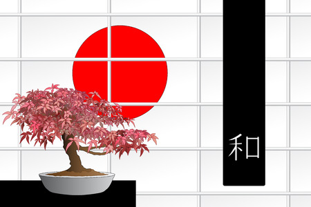 Japanese maple bonsai in front of a windows with red sun and black flag with ideogram of peace Stock Vector - 5405212