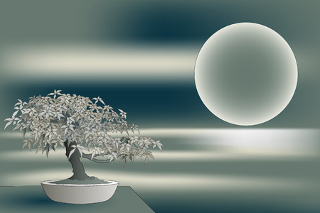 Japanese bonsai on landscape with moon and water reflection - Winter colors Vettoriali