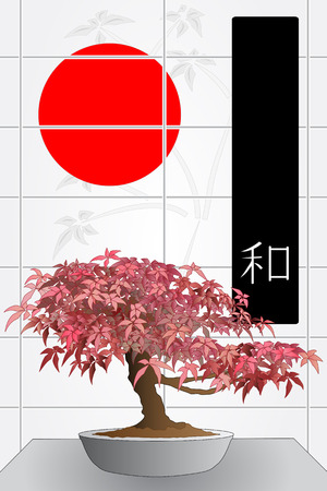 Japanese maple bonsai in front of a windows with red sun and black flag with ideogram of peace Vector