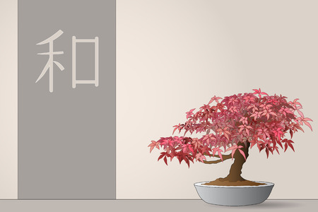 Japanese maple bonsai with flag and ideogram of peace