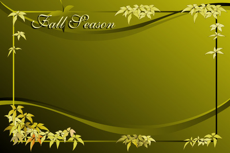 Fall season background with frame - Autumn colors with green tones Vector