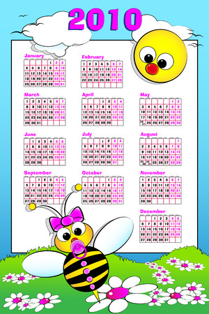 2010 Kid calendar landascape with a baby girl bee and daisies - Cartoon style Stock Vector - 5450219