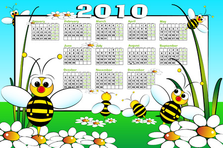 2010 Kid calendar landascape with bees and daisies - Cartoon style Stock Vector - 5450227