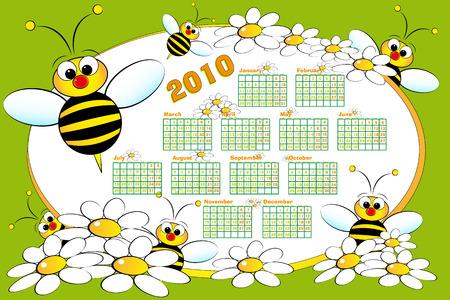 2010 Kid calendar with bees and daisies - Cartoon style Vector