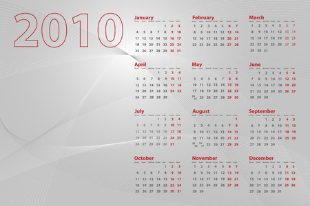 2010 calendar on abstract background with lines and waves, silver tones Vector