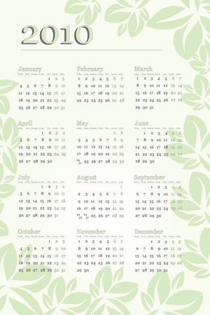 newyear: 2010 Calendar with leaves and green tones