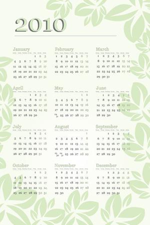 newyear: 2010 Calendario de hojas verdes y tonos