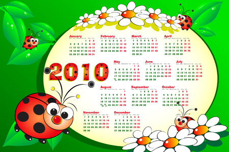 2010 Kid calendar with ladybugs, leaves and daisies - Cartoon style Vector