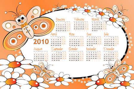 2010 Kid calendar with butterflies and daisies - Cartoon style Vector