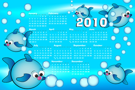 2010 Kid calendar with fishes and bubbles air Vector