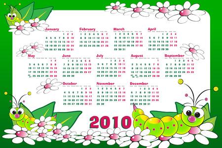 grub: 2010 Kid calendar with grubs and flowers