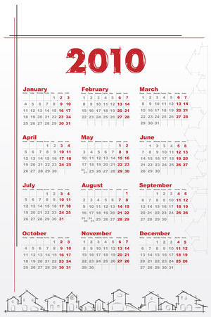 2010 Calendar with houses - Architecture theme Stock Vector - 5641393