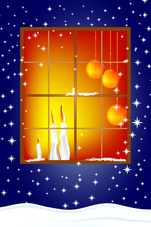 Classic Christmas card with windows, candles and snowflakwes - Eve Vector