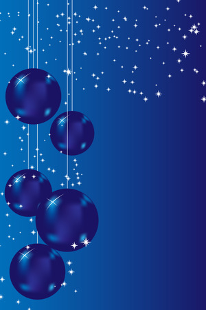 Christmas card with blue balls and stars Vettoriali