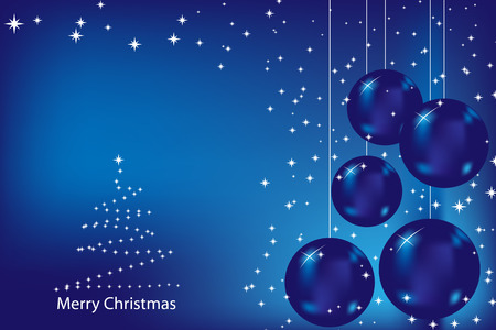 Christmas card with blue balls and stars Vector