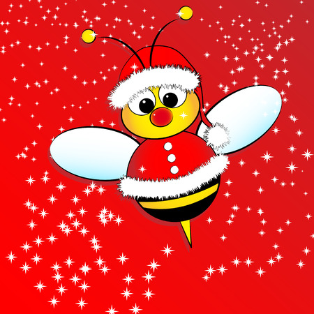 Christmas card for kids with a Santa Claus Bee Illustration