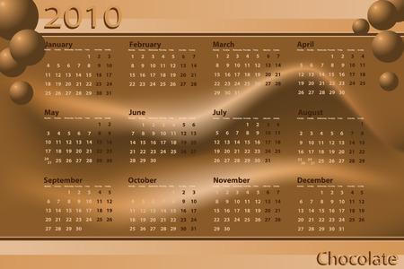 2010 Calendar chocolate theme - Abstract background Vector