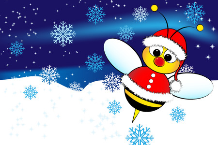 Christmas card for kids with a Santa Claus Bee and snow